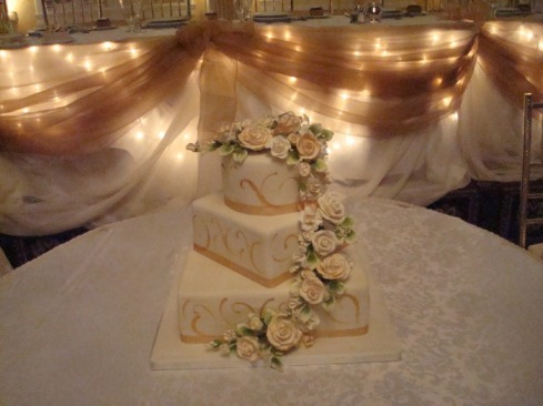 Decorating Setup and rentals chair covers backdrops head table cake